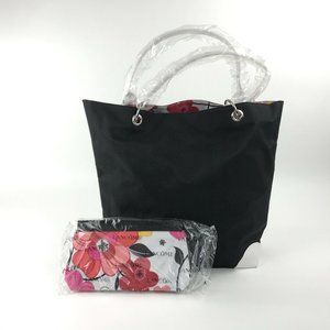 Lancome Canvas Tote Bag w Matching Cosmetic Bag